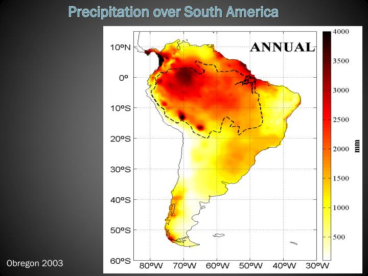 Precipitation over South America