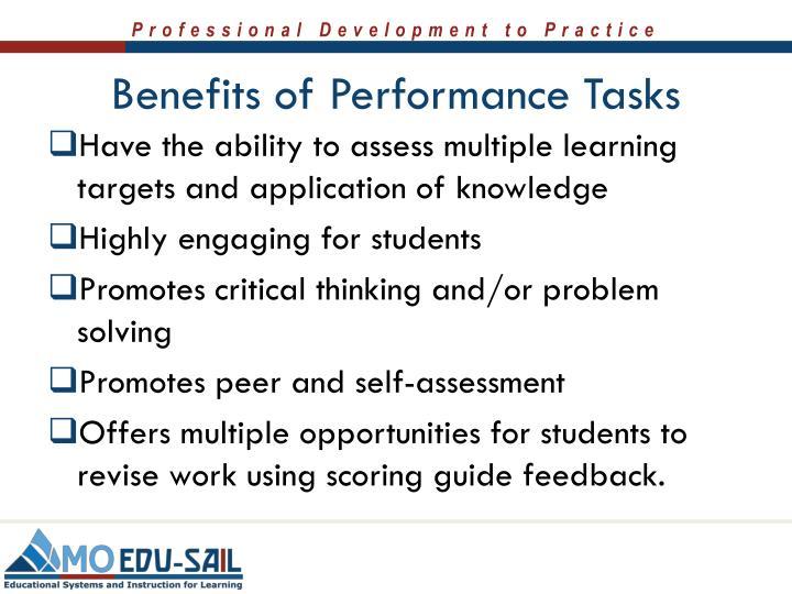 Benefits of Performance Tasks