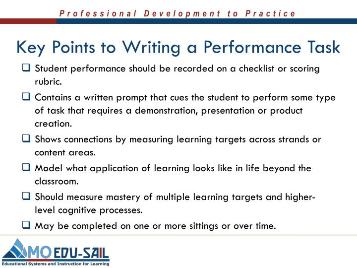 Key Points to Writing a Performance Task