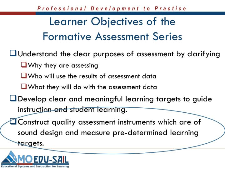 Learner Objectives of the