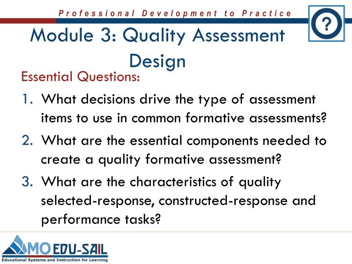 Module 3: Quality Assessment Design