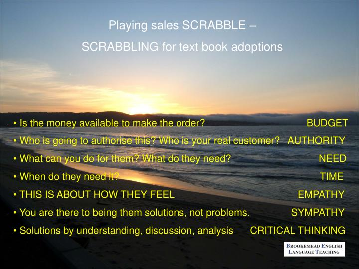 Playing sales SCRABBLE –