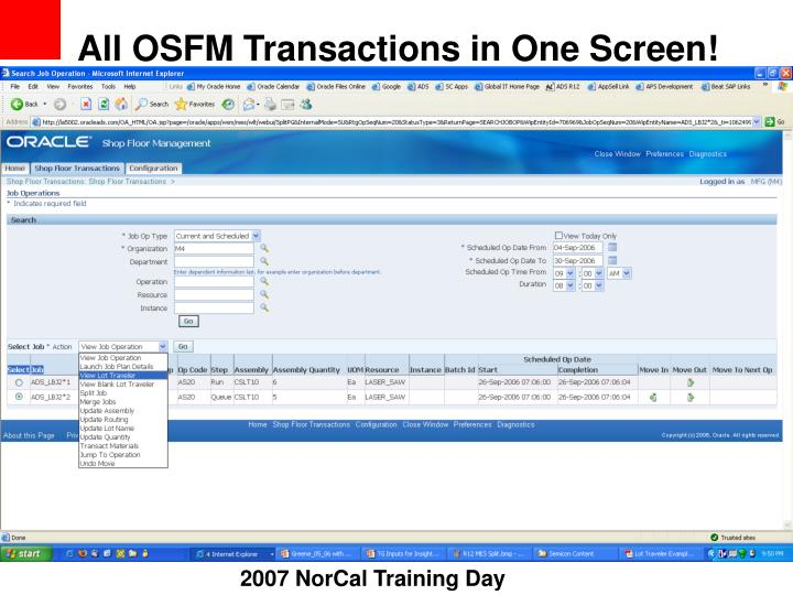 All OSFM Transactions in One Screen!