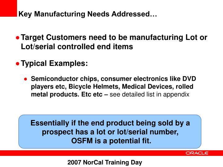 Key Manufacturing Needs Addressed…