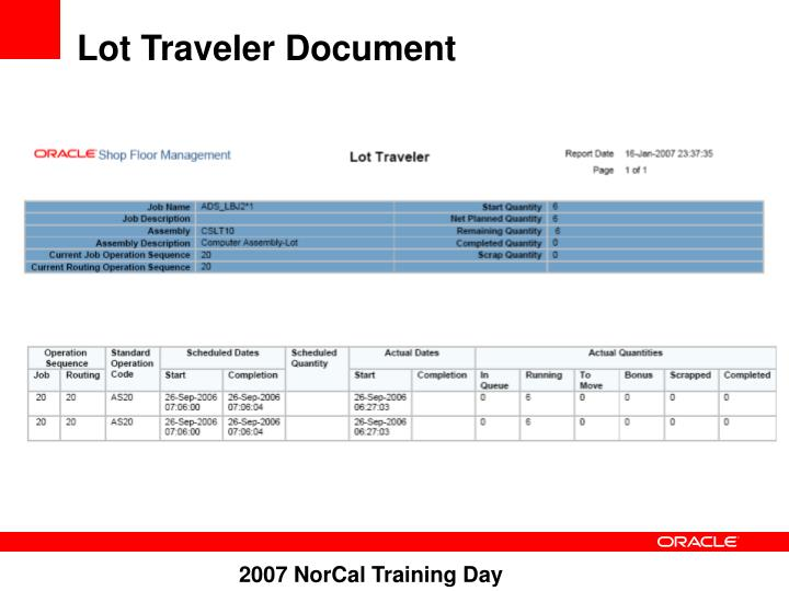 Lot Traveler Document