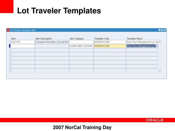 Lot Traveler Templates