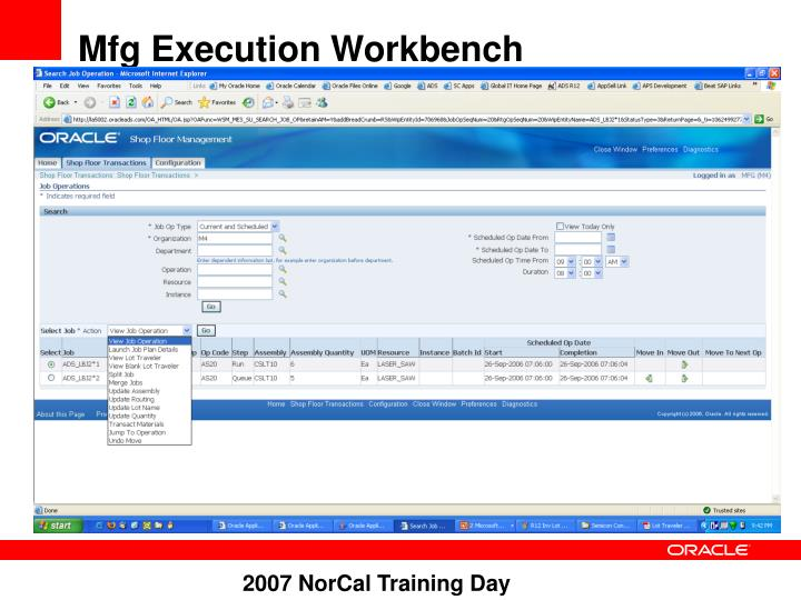 Mfg Execution Workbench