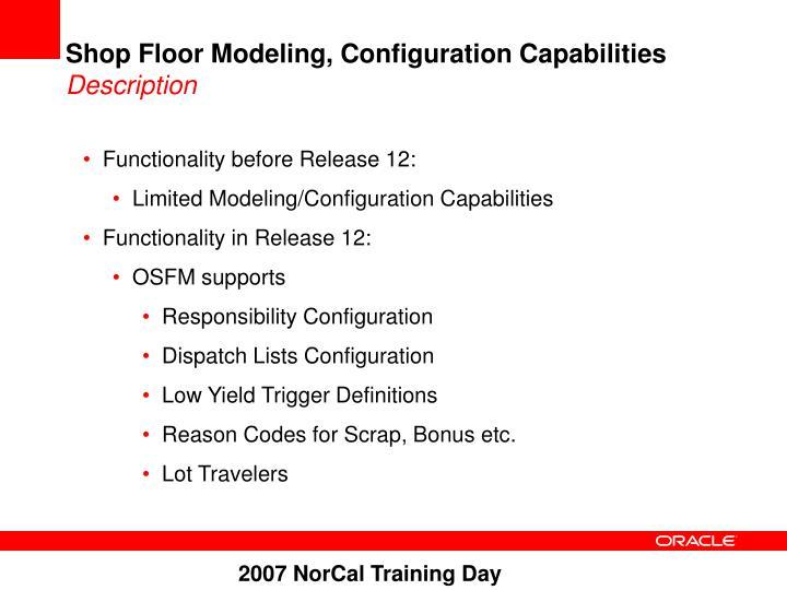 Shop Floor Modeling, Configuration Capabilities