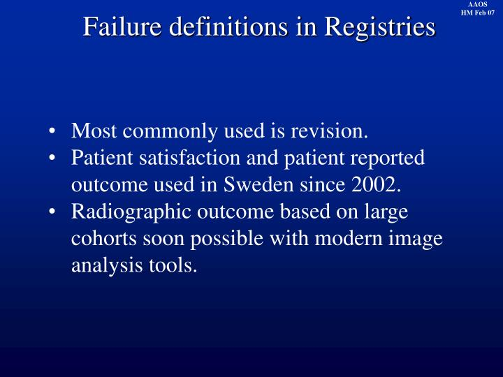 Failure definitions in Registries
