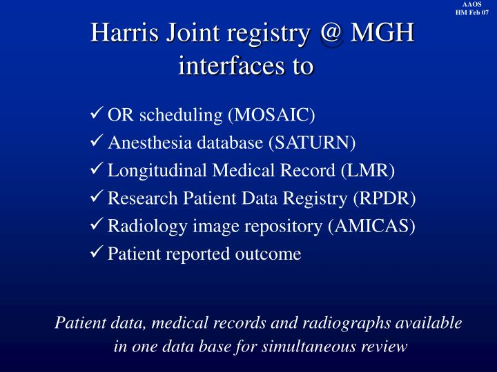 Harris Joint registry @ MGH