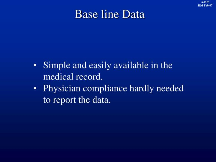 Base line Data