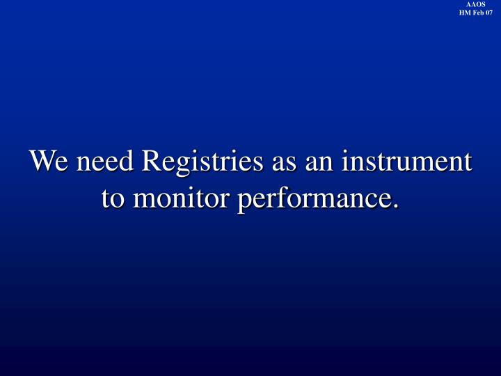 We need Registries as an instrument to monitor performance.