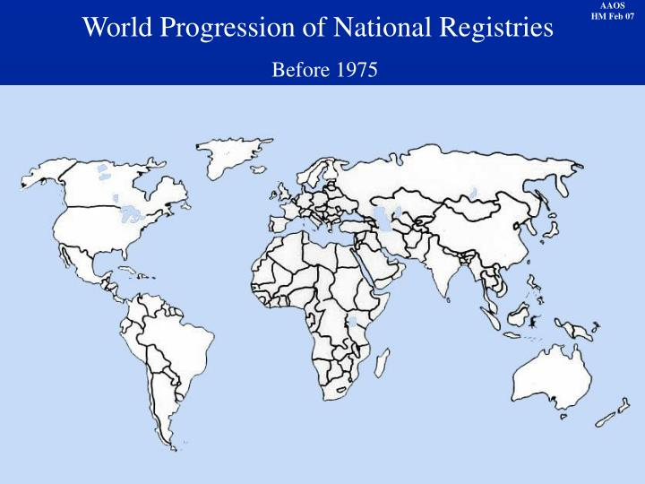 World Progression of National Registries