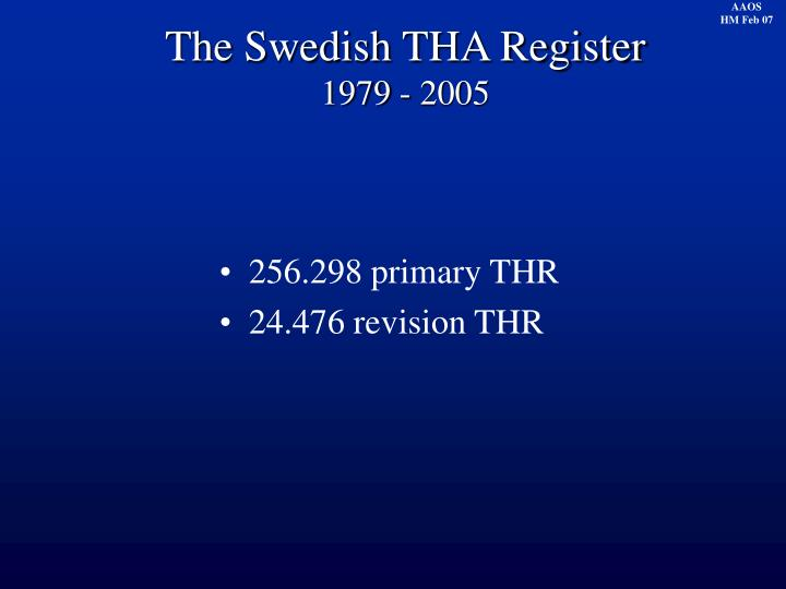 The Swedish THA Register