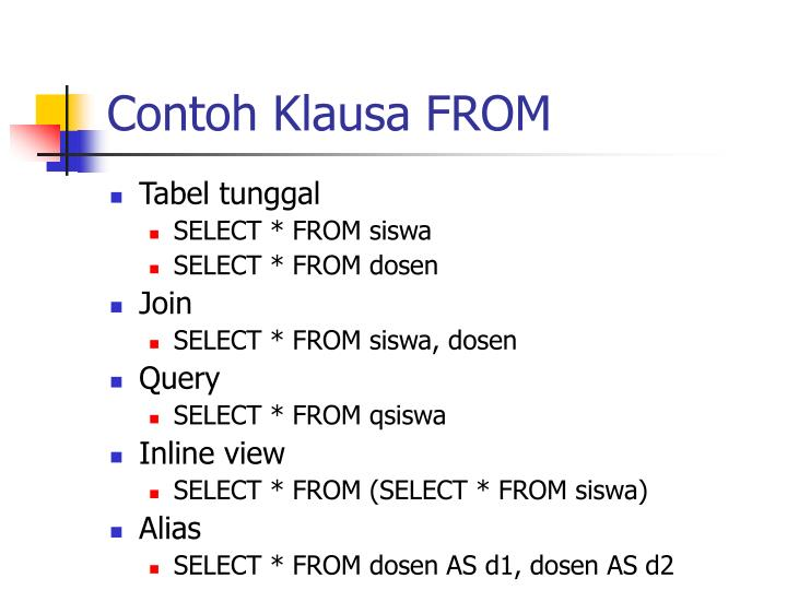 Contoh Klausa FROM