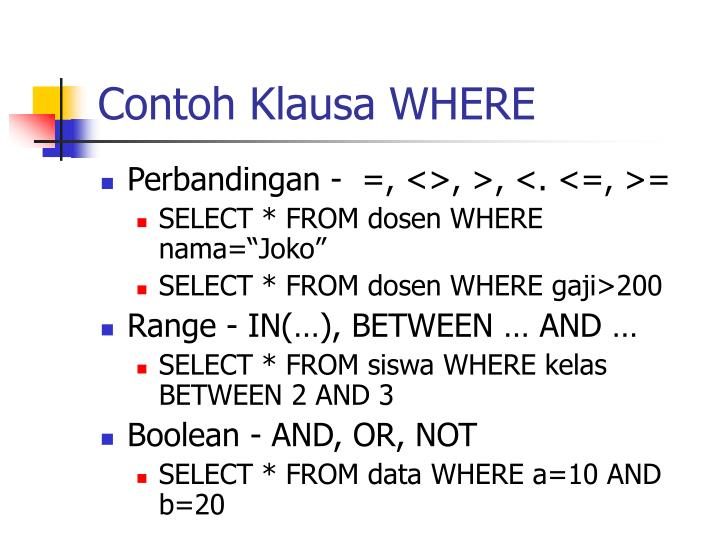 Contoh Klausa WHERE