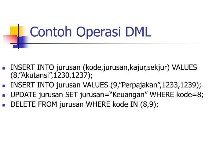 Contoh Operasi DML