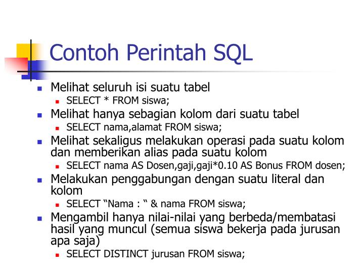 Contoh Perintah SQL