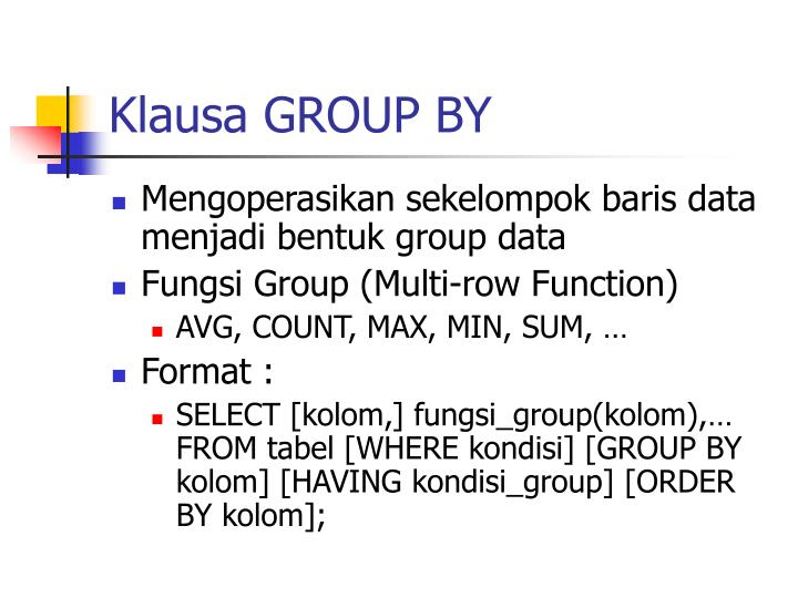 Klausa GROUP BY