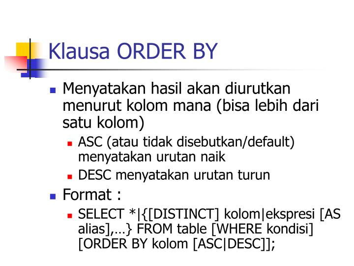 Klausa ORDER BY