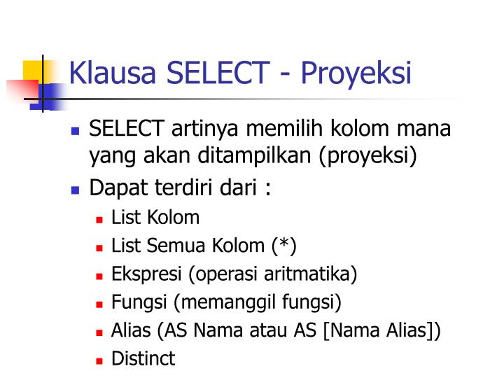 Klausa SELECT - Proyeksi
