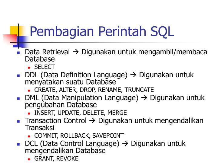 Pembagian Perintah SQL