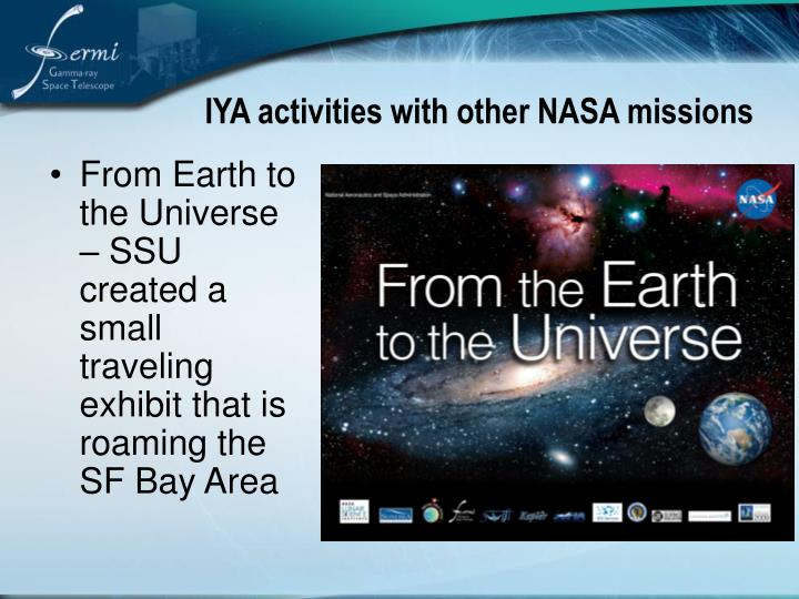 IYA activities with other NASA missions