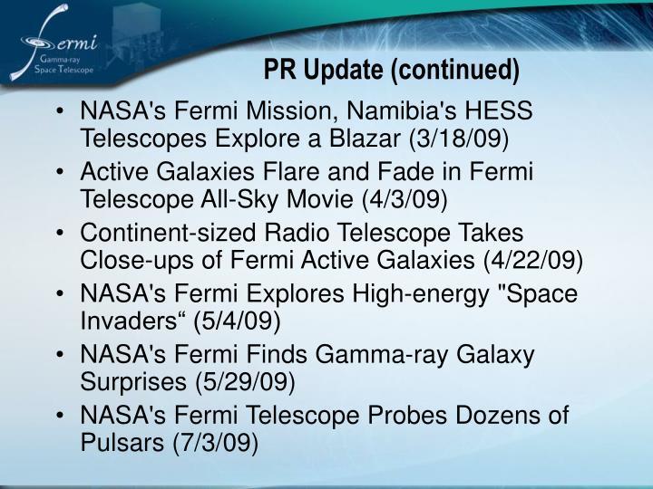PR Update (continued)