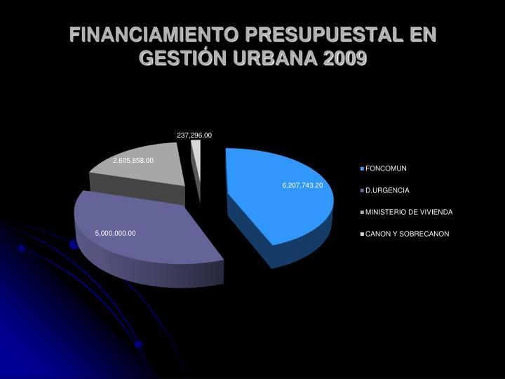 FINANCIAMIENTO PRESUPUESTAL EN GESTIÓN URBANA 2009