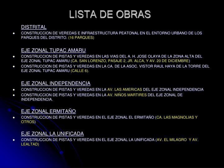LISTA DE OBRAS