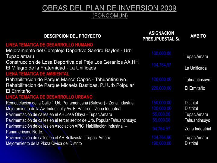 OBRAS DEL PLAN DE INVERSION 2009