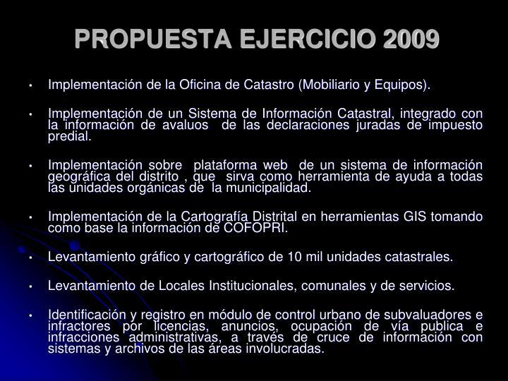 PROPUESTA EJERCICIO 2009
