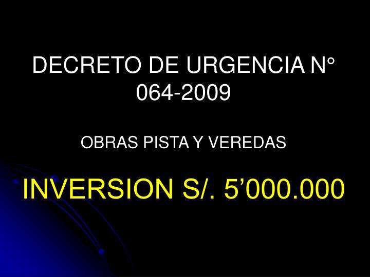 DECRETO DE URGENCIA N° 064-2009