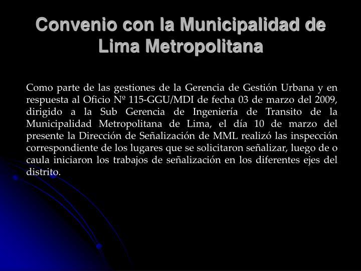 Convenio con la Municipalidad de Lima Metropolitana