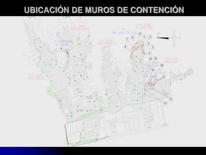 UBICACIÓN DE MUROS DE CONTENCIÓN