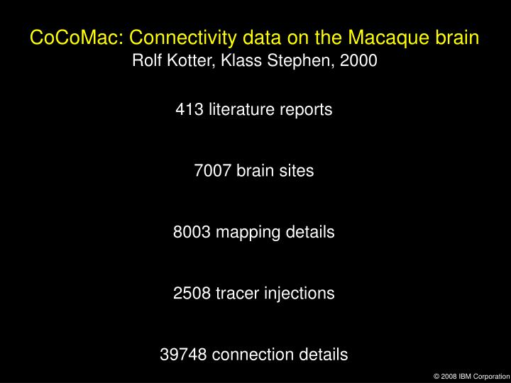 CoCoMac: Connectivity data on the Macaque brain