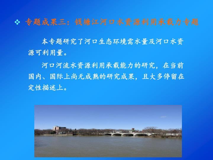 专题成果三:钱塘江河口水资源利用承载力专题