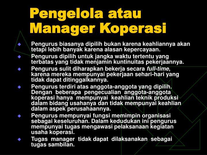 Pengelola atau Manager Koperasi