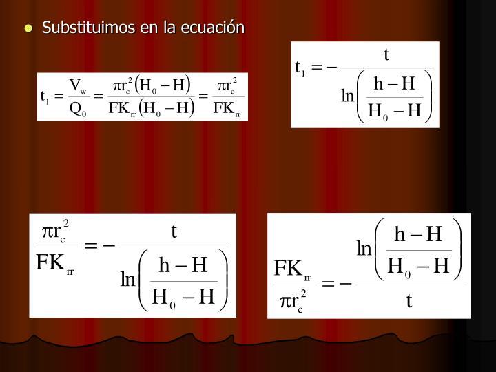 Substituimos en la ecuación