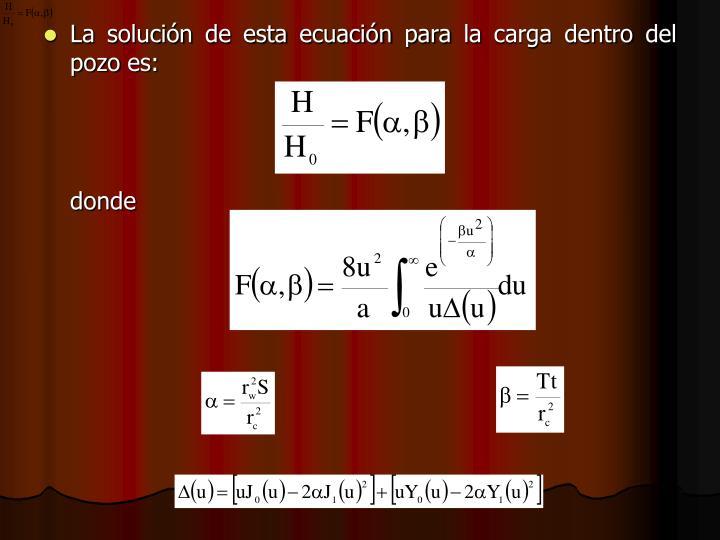 La solución de esta ecuación para la carga dentro del pozo es: