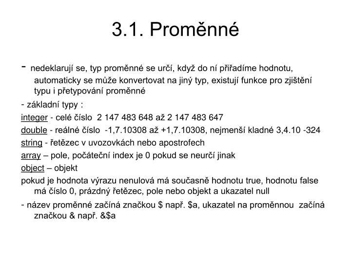 3.1. Proměnné