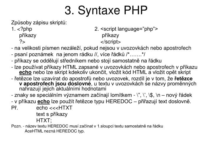 3. Syntaxe PHP
