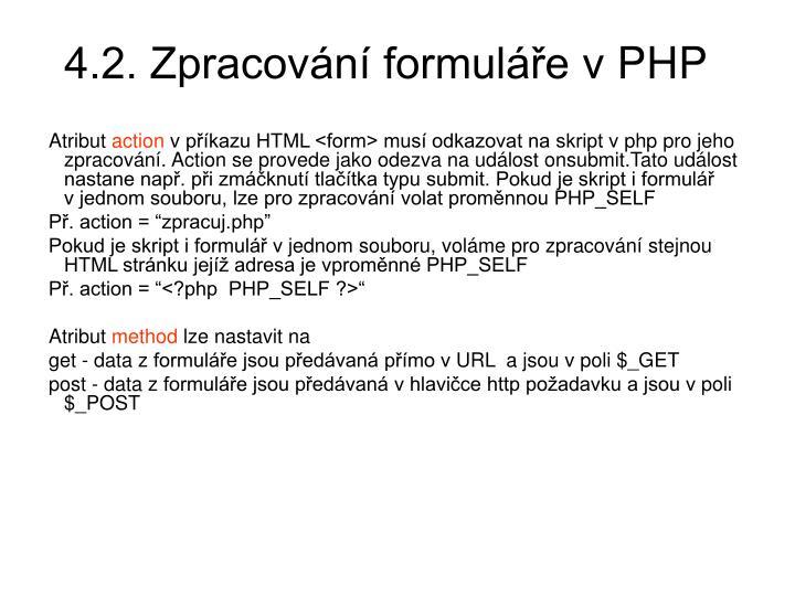 4.2. Zpracování formuláře vPHP