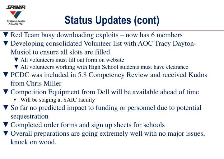 Status Updates (cont)