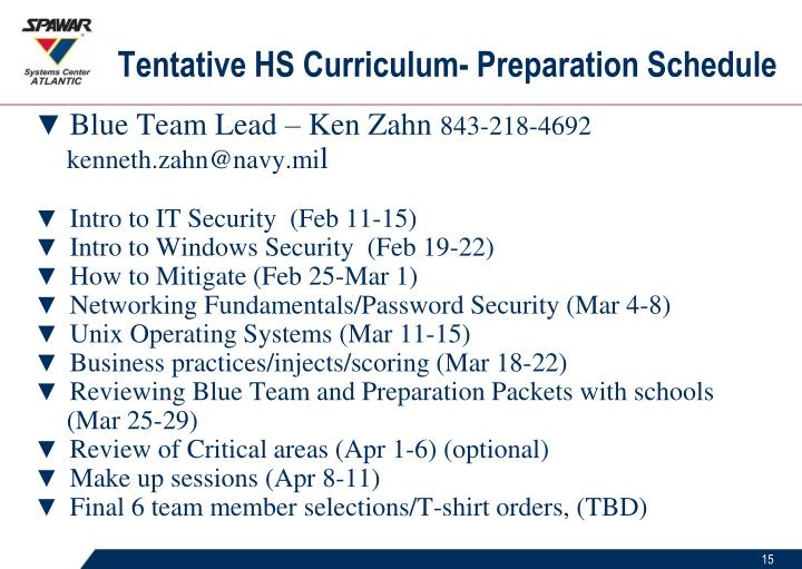 Tentative HS Curriculum- Preparation Schedule