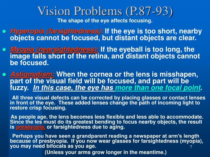 Vision Problems (P.87-93)