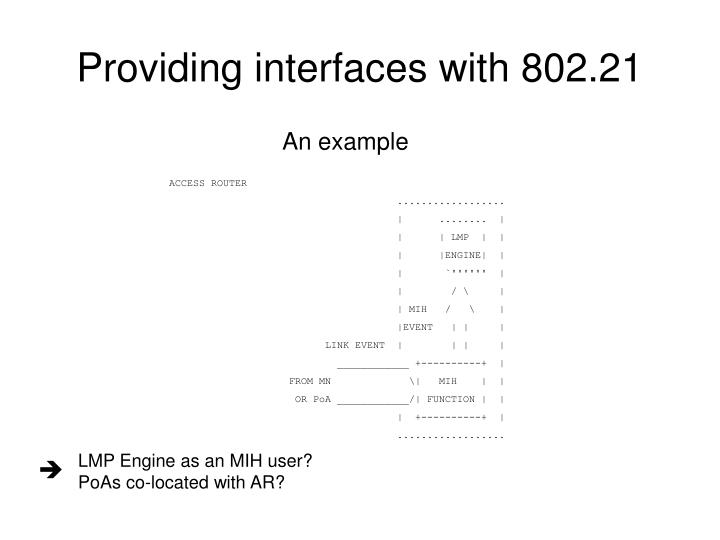 Providing interfaces with 802.21
