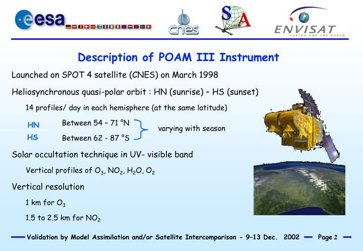 Description of POAM III Instrument
