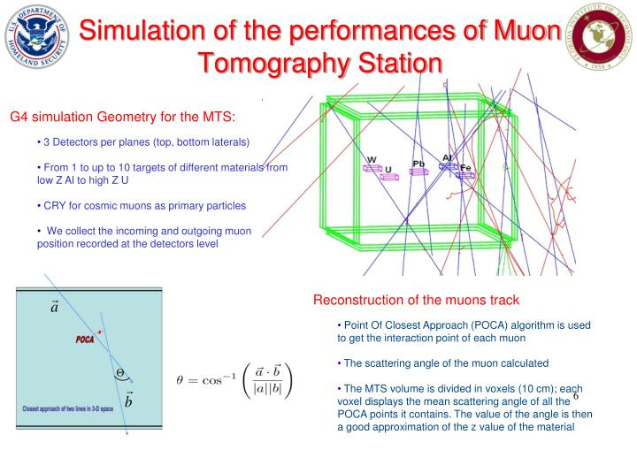 Simulation of the performances of Muon Tomography Station