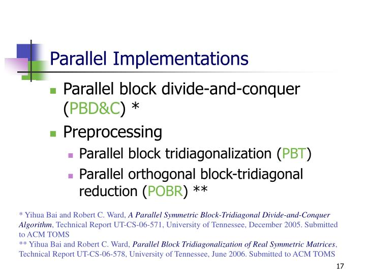 Parallel Implementations